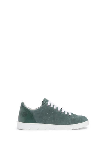 LOEWE Soft sneaker in split calfskin Steel Blue pdp_rd