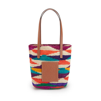 LOEWE Shigra Basket Bag In Agave And Calfskin Multicolor/Pecan front