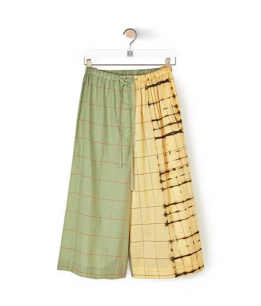 LOEWE Check & Stripe Shorts Verde/Amarillo front