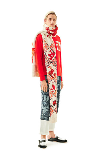 LOEWE Embroidered Knit Poncho Animals White/Red front