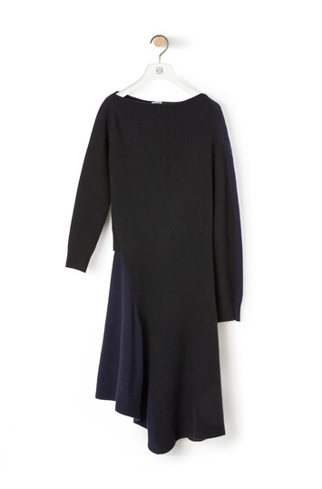 LOEWE Asymmetric Knit Dress ブラック/ネイビーブルー front