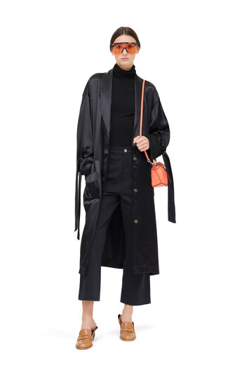 LOEWE Satin Duster Coat Black front