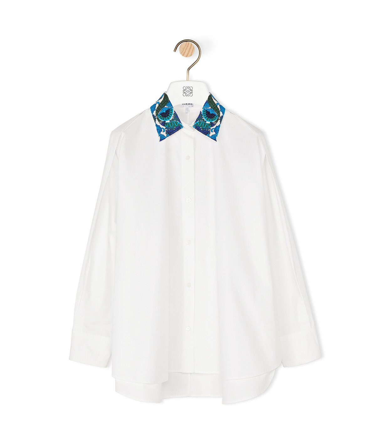 LOEWE Embroidered Collar Shirt White front