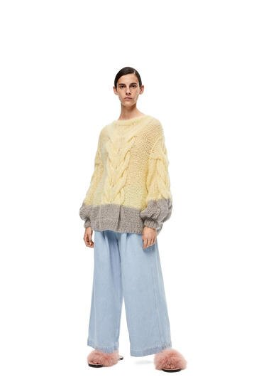 LOEWE Oversize sweater in mohair Yellow/Grey pdp_rd