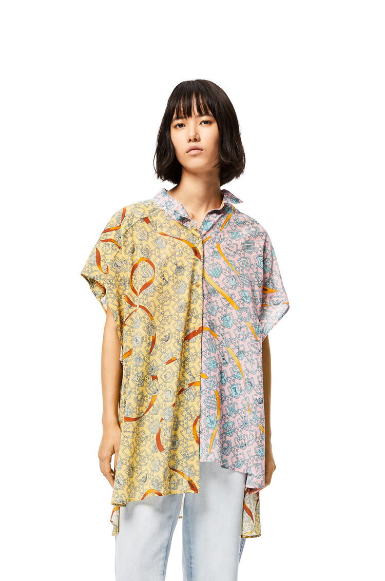 LOEWE Asymmetric Oversize Shirt In Shield Cotton Pink/Yellow pdp_rd
