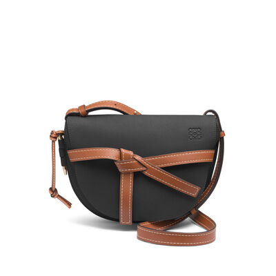 LOEWE Gate Small Bag Black/Pecan Color front
