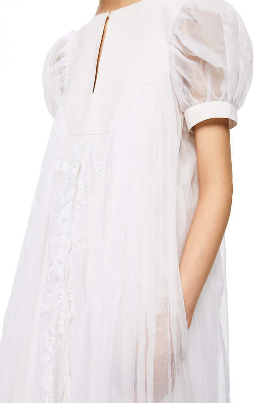 LOEWE Balloon Sleeve Long Dress White front