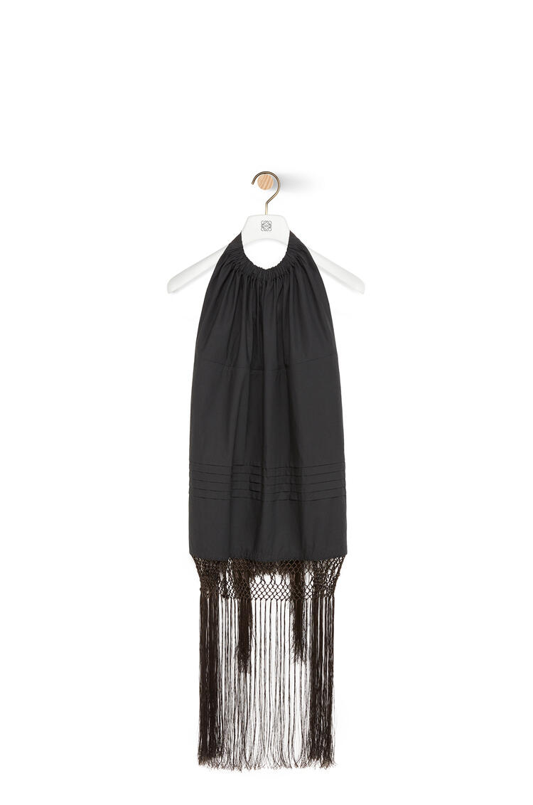 LOEWE Backless Fringe Top In Cotton Black/Brown pdp_rd