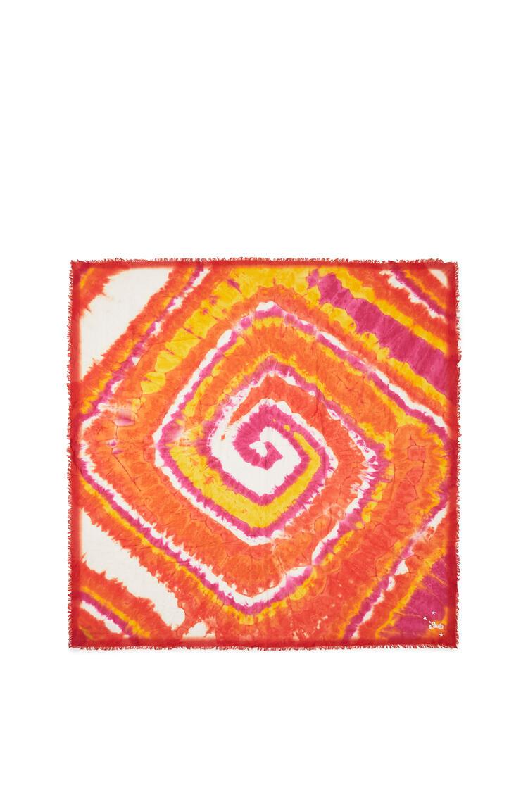 LOEWE 140cm x 140cm spiral scarf in tie dye cashmere Orange/Pink pdp_rd