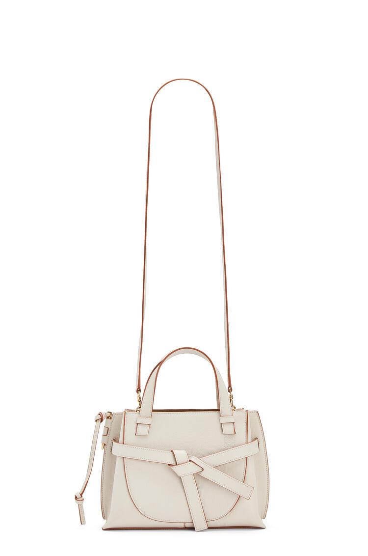 LOEWE Mini Gate top handle bag in pebble grain calfskin Light Ghost pdp_rd