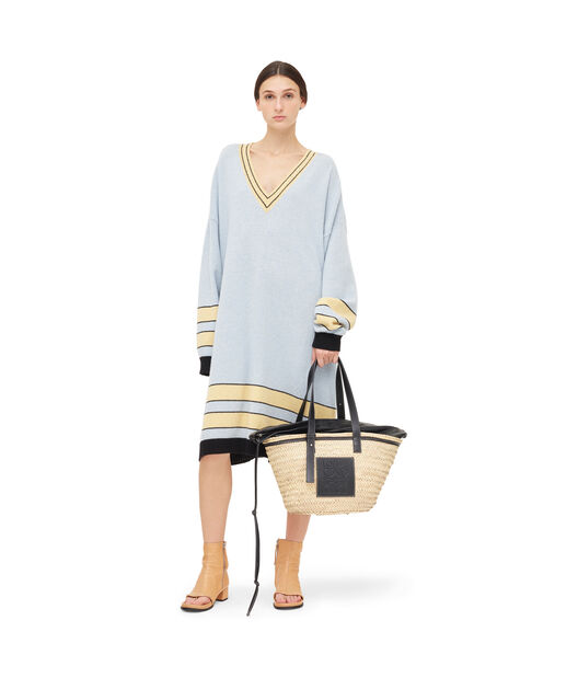 LOEWE Stripe Vneck Sweater Dress Baby Blue front