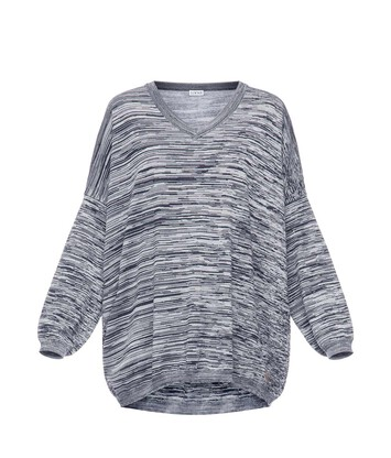 LOEWE V Neck Sweater Melange Navy Blue/Grey front