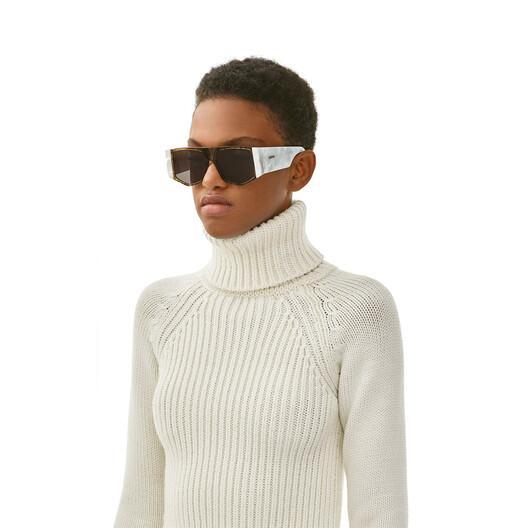LOEWE Fw19 Acetate Mask Sunglasses White/Smoke front