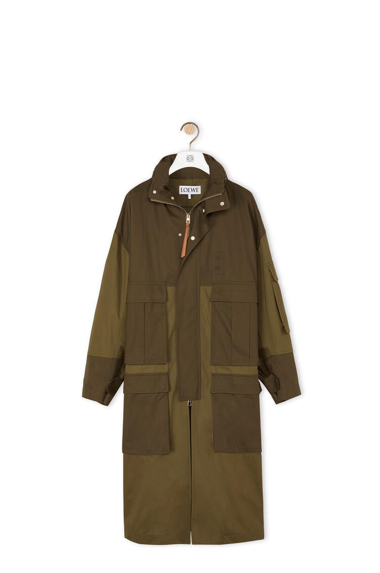 LOEWE Patch pocket hooded parka in cotton Khaki Green pdp_rd