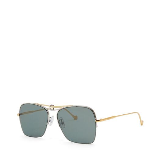 LOEWE Knot Pilot Square Sunglasses Gold/Green Smoke front