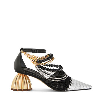 LOEWE Ankle Strap Macrame 55 Black/Silver front