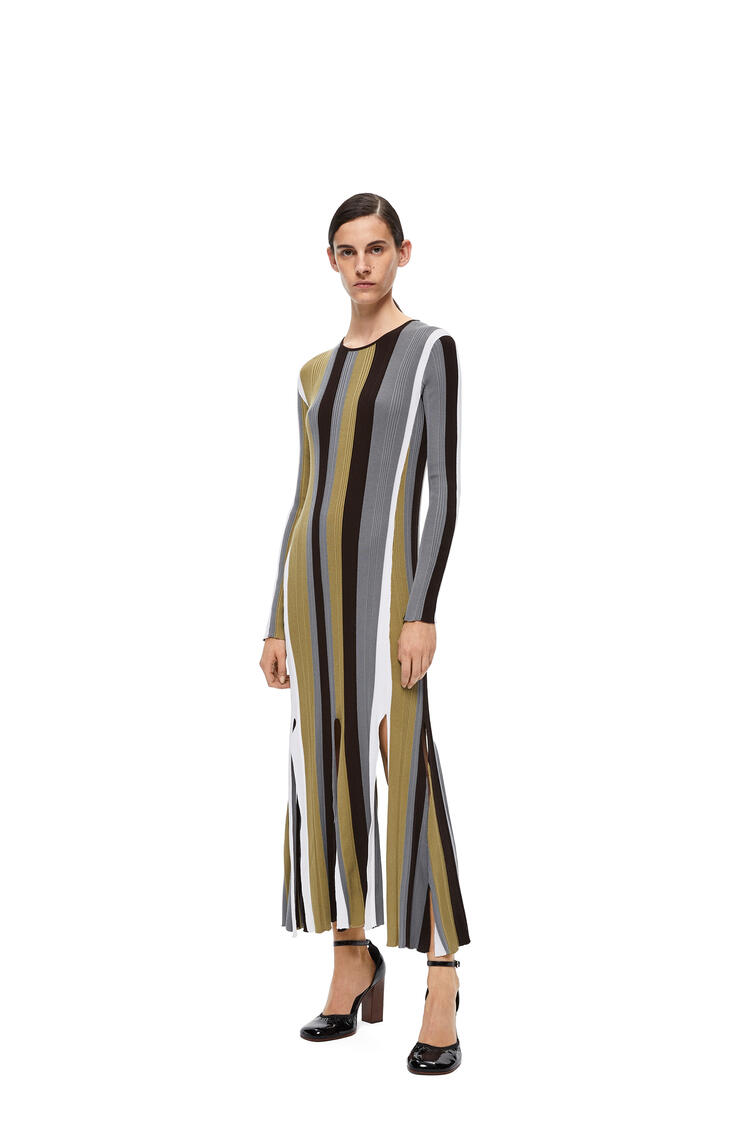 LOEWE Ribbed knit dress in striped cotton Brown/White pdp_rd