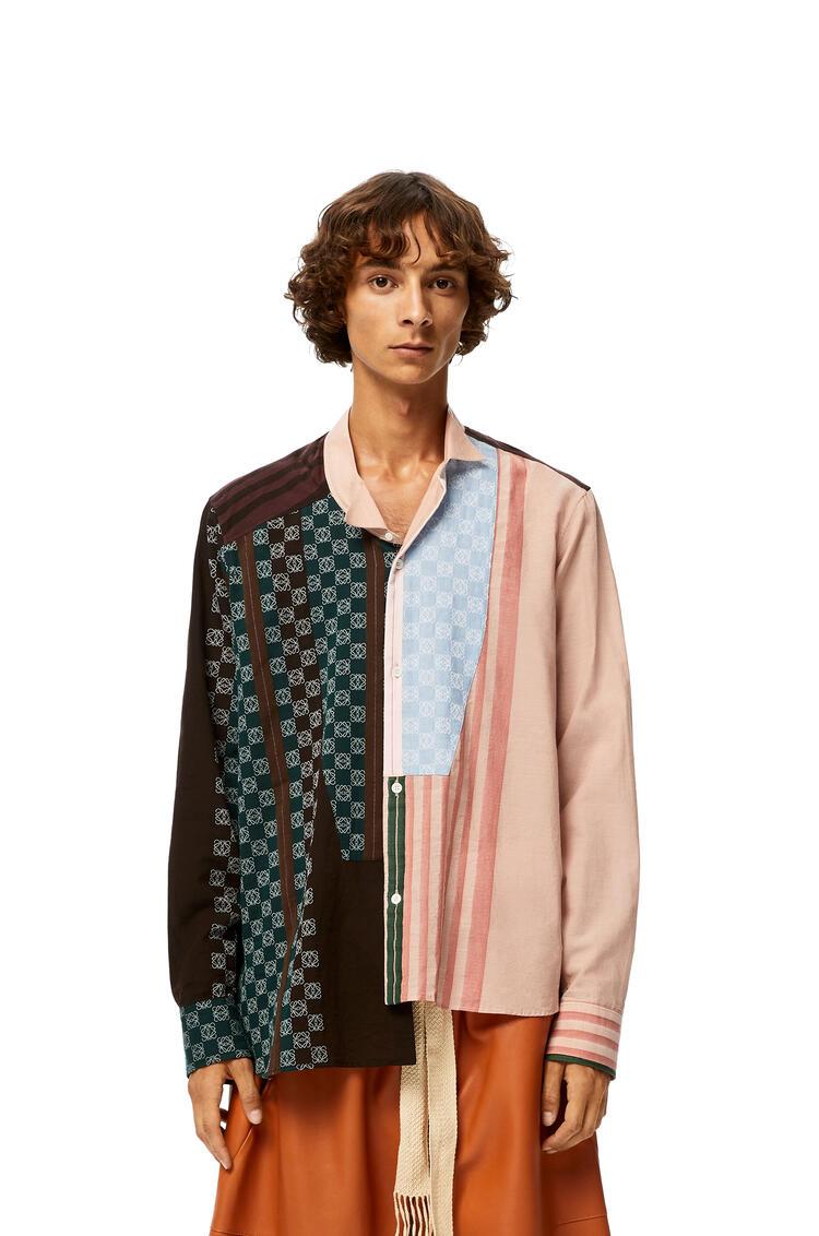 LOEWE Camisa Anagrama Asimétrica En Algodón De Rayas Marron/Rosa pdp_rd