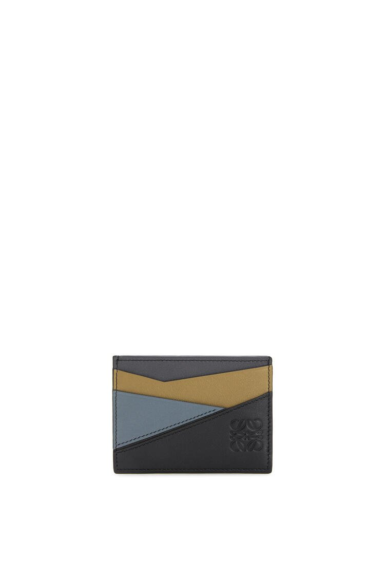 LOEWE Puzzle plain cardholder in classic calfskin Ochre Green/Storm Blue pdp_rd