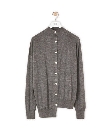LOEWE Asymmetric Cardigan Gris Oscuro front