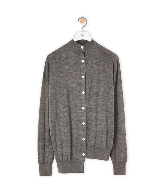 LOEWE Asymmetric Cardigan Dark Grey front