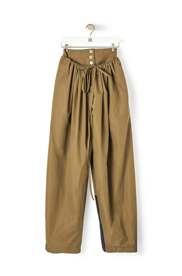 LOEWE Double Waistband Trousers Khaki Green front