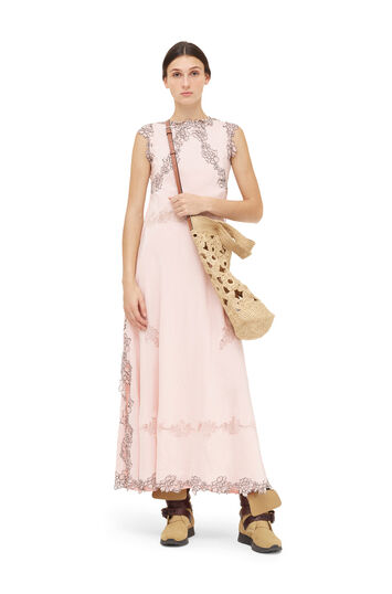 LOEWE Lace Trim Dress Light Pink front