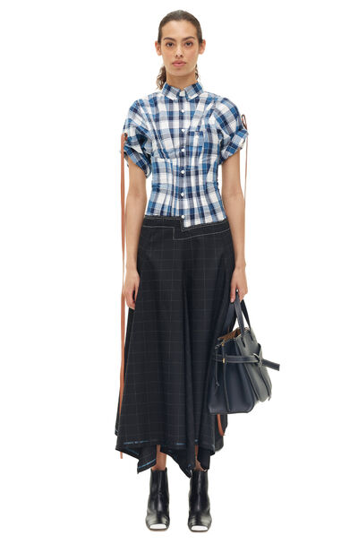 LOEWE Check Shirtdress Black/Blue front