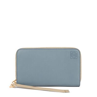 LOEWE Medium Zip Around Wallet Stone Blue/Ivory front
