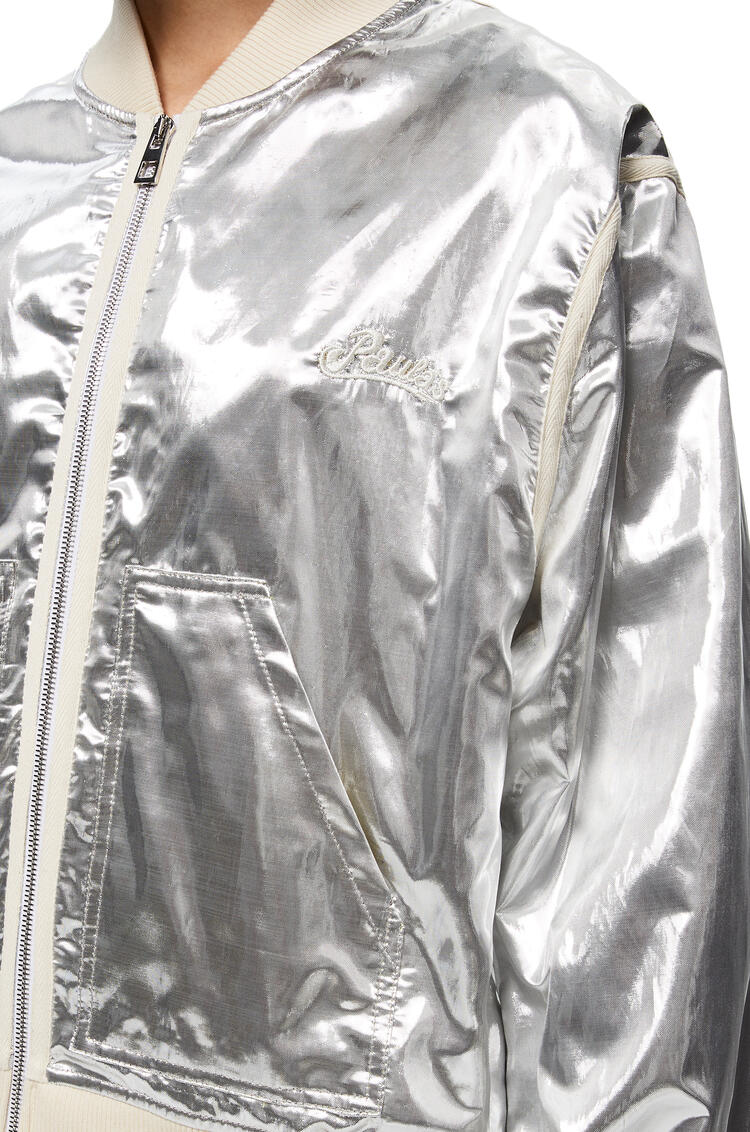 LOEWE Silver Bomber Jacket In Silk And Polyester Silver pdp_rd