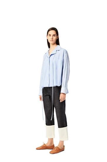 LOEWE Blusa tipo pijama en algodón de rayas Blanco/Azul pdp_rd
