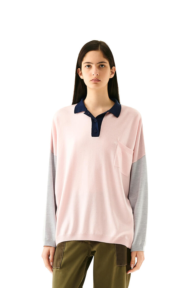 LOEWE Oversize Polo Collar Sweater In Wool Pink/Navy Blue pdp_rd