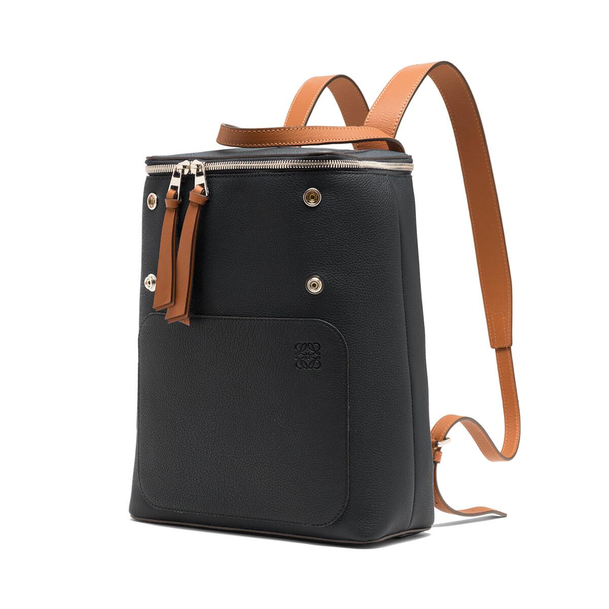 LOEWE Goya Small Backpack Black/Pecan Color front