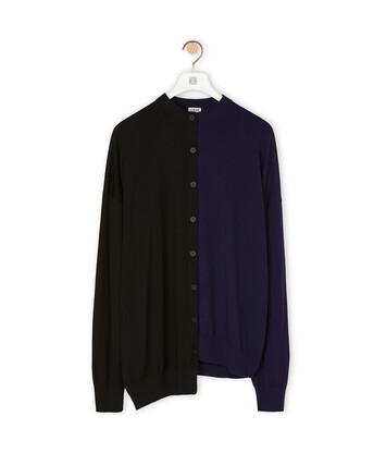 LOEWE Asymmetric Cardigan Negro/Marino front