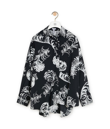 LOEWE Feather Print Blouse Black/White front