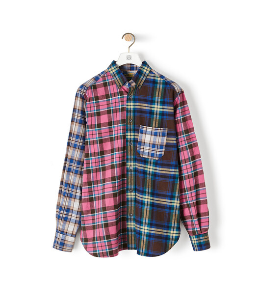 LOEWE Eln Patchwork Check Overshirt Multicolor front