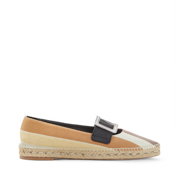 LOEWE Pointy Buckle  Espadrille Brown/Ecru/Yellow front