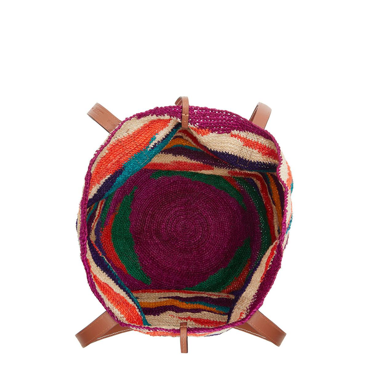 LOEWE Bolso Tipo Cesta Shigra En Agave Y Piel De Ternera Multicolor/Pecana front