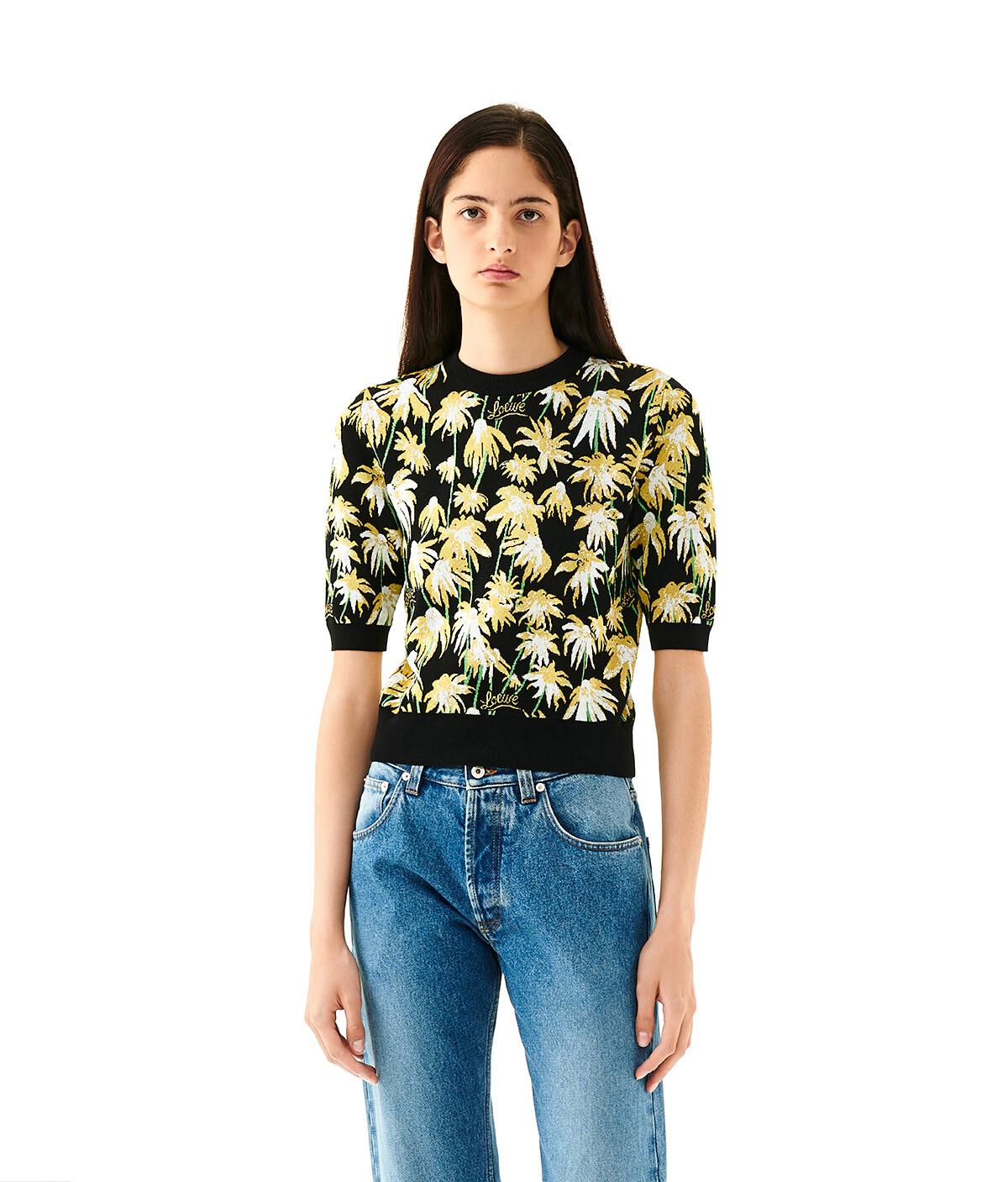 LOEWE Daisy Jacquard Cropped Sweater Black/Yellow front