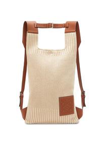LOEWE 针织棉和经典小牛皮 Shopper 背包 原色/棕褐色 pdp_rd