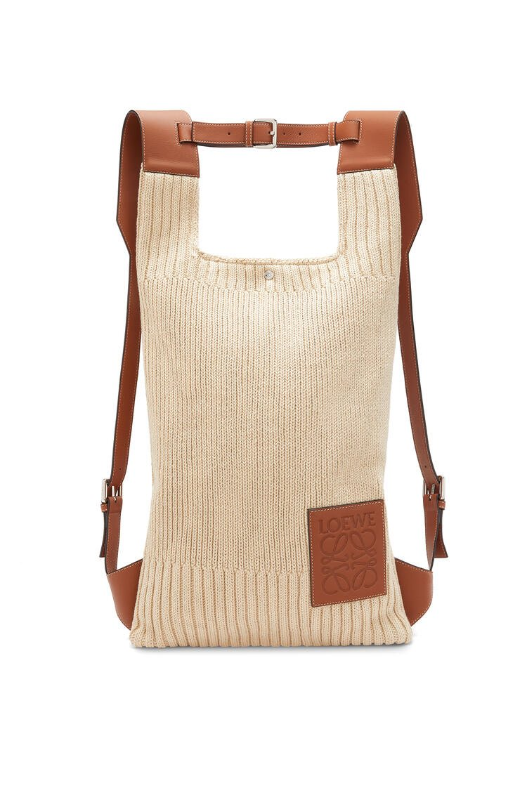 LOEWE Shopper backpack in cotton and calfskin Natural/Tan pdp_rd