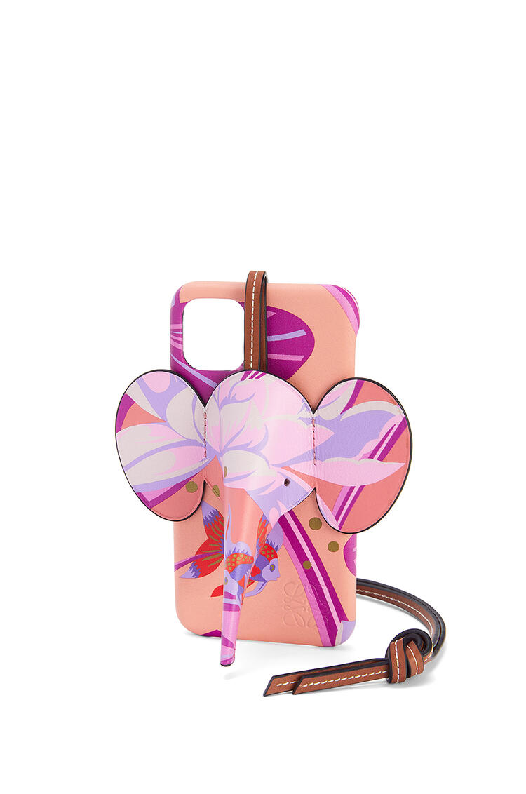LOEWE Funda Elephant para iPhone 11 en piel de ternera clásica estampada Salmon/Rosa pdp_rd