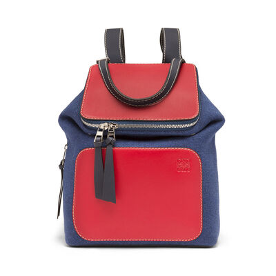 LOEWE Goya Small Backpack Royal Blue/Primary Red front