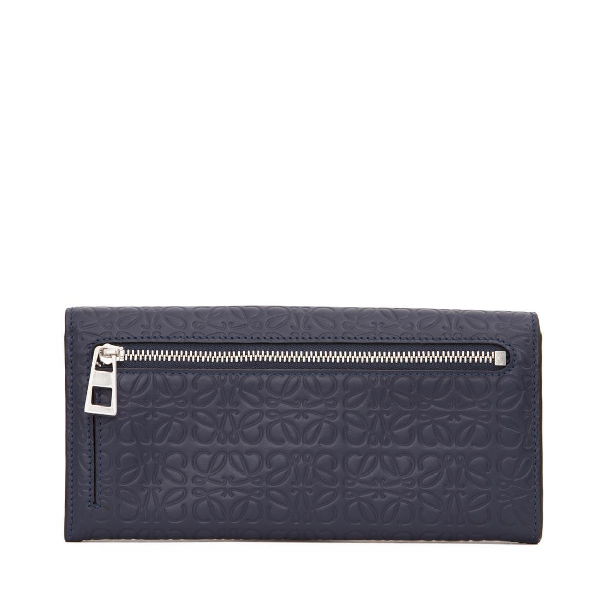 LOEWE Continental Wallet Navy Blue all