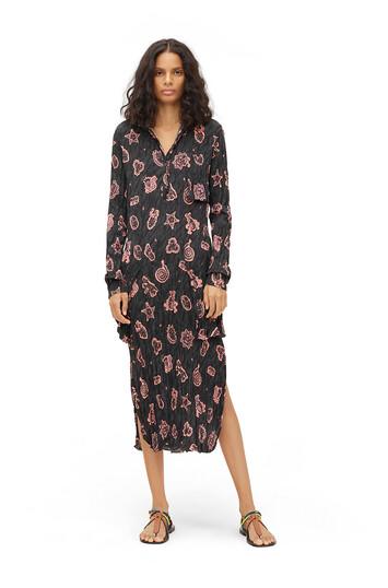 LOEWE Paula Print Crinkle Shirtdress Black/Pink front