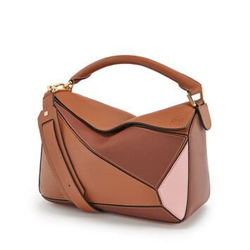 LOEWE Puzzle Bag Tan/Medium Pink front