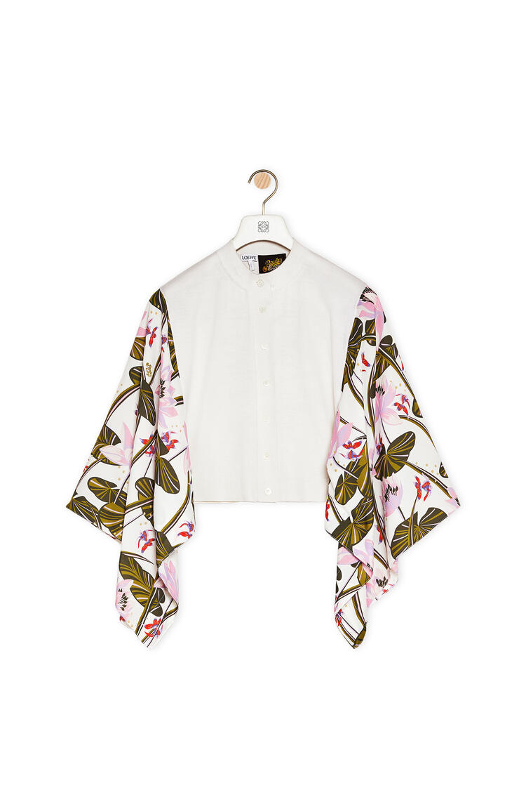 LOEWE Cardigan in waterlily silk and wool Ecru pdp_rd