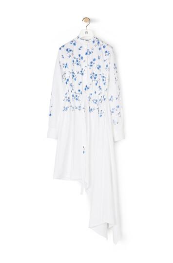 LOEWE Flower Asymmetric Shirtdress Blanco front