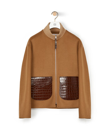 LOEWE Zip Jacket Patch Pockets Camel front