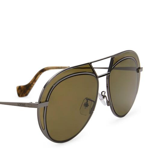LOEWE Round Metal Sunglasses Black/Khaki Green front